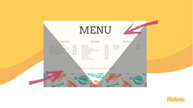 menu w restauracji