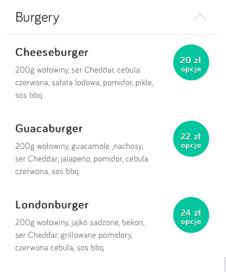menu zamówienia online dla restauracji